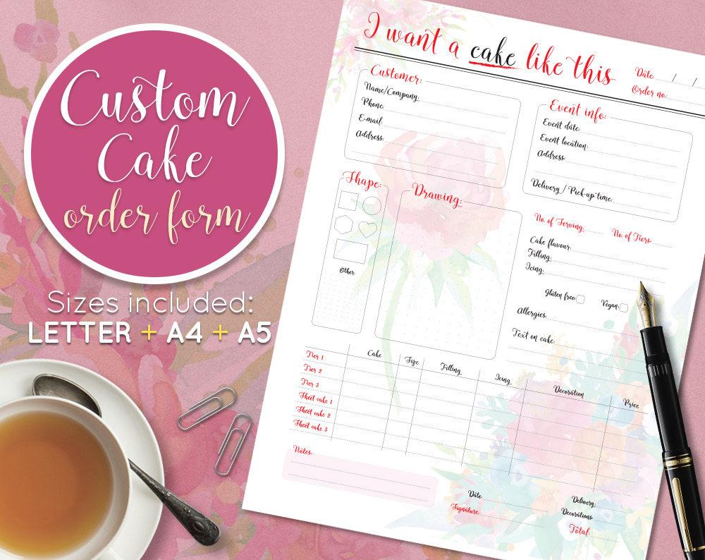Printable Custom Cake Order Bookwedding Cake Order Form Cake Order