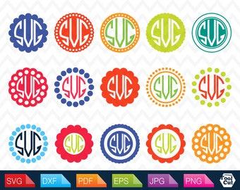 Circle Monogram Svg Circle Frames Svg  Circle Monogram Frame Svg Polkadot Frame Svg Scalloped Round Border Svg Dotted frame svg Silhouette