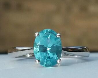 1.250ct Natural Paraiba Apatite ring in platinum 925 size L