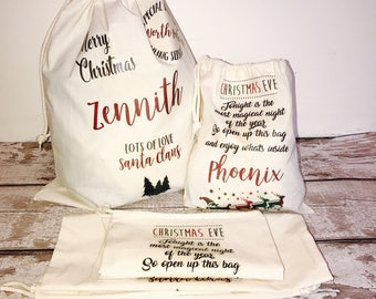 Personalised Santa Sack, Personalised Santa Bag, Christmas Stocking, Toy Sack, Christmas Present Sack, Large Canvas Sack, , Christmas Bag