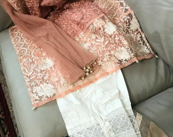 Pretty Pink Eid Pret wear embroidered kurti with net duppata with pants added!!