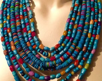 Vintage Multi-Colored Beaded Necklace