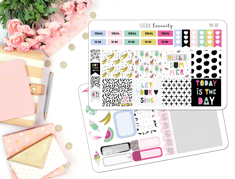 Neon Summer Mini Happy Planner Kit, weekly kit, retro