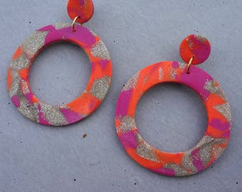Extra Large Hoop Studs - Neon Orange / Polymer Clay Earrings / Stud Earrings