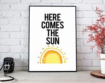 Here Comes The Sun,Nursery Decor,Nursery,Printable Wall Art,Instant Download,Nursery Art,Little Darling,Sun,Sunshine,Yellow,Baby Shower Gift