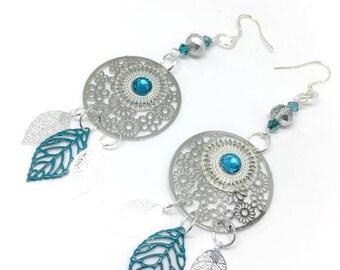 Leaf earrings, silver metal (turquoise)