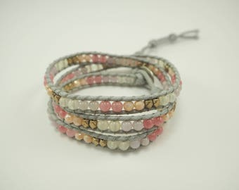 3 Wrap Bracelet with Pastel Beads
