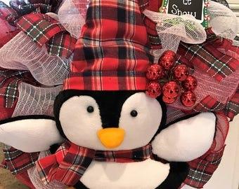 Penguin Deco Mesh Christmas Wreath