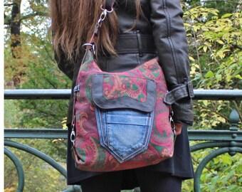 Backpack, shoulder bag, shoulder bag, Upcycling, leather, retro