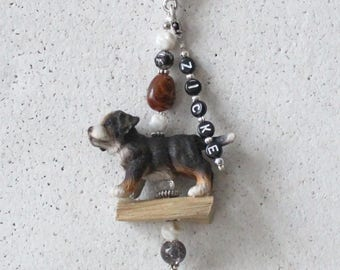 Bag pendant, charm, Bernese dog puppy