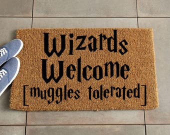 Wizards Welcome Doormat/Harry Potter Doormat/Harry Potter Decor/Custom Doormat/Custom Welcome Mat/Personalized Doormat/Door Mat/Coir doormat