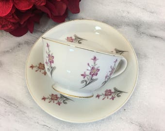 Delicate Flowers Grantcrest China Tea Cup and Saucer Pink Florals Handpainted Japan Made teacup