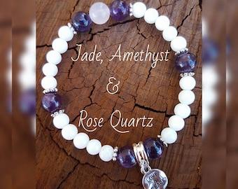 White Jade, Amethyst & Rose Quartz Gemstone Bracelet