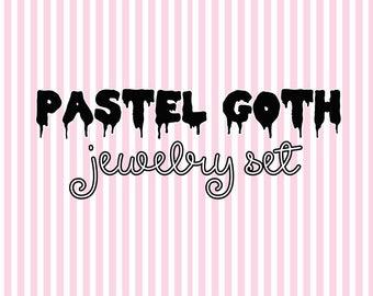 Pastel Goth Jewelry Set