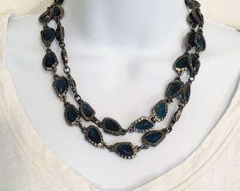 Chico's Necklace, Strand Necklace, Boho Glass Necklace, Faceted Glass Necklace, Chicos Necklace, Glass Necklace, Vintage Necklace,