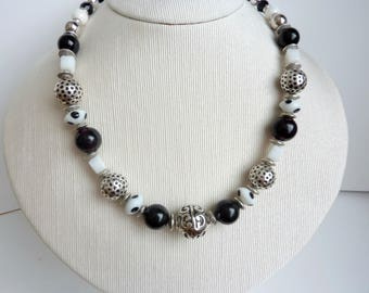 black and white Valentine necklace