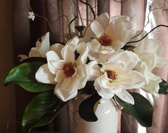 Farmhouse  arrangement, magnolia arrangement, floral centerpiece, magnolia centerpiece, farmhouse table , magnolias, table decor,