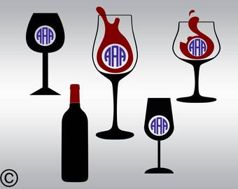 Wine glass monogram SVG Clipart Cut Files Silhouette Cameo Svg for Cricut and Vinyl File cutting Digital cuts file DXF Png Pdf Eps