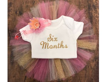 Six month half birthday tutu set pink and gold