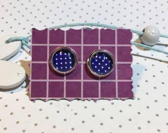 "Earrings Cabochon ""dots white blue"""