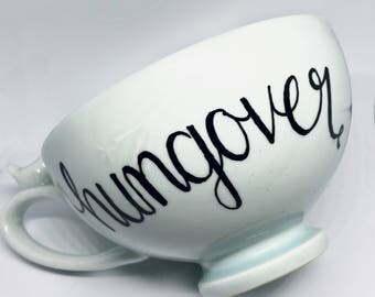 """FREE SHIPPING Cheeky China, Large Light Blue """"Hungover"""" Cup // Oversized Mug // Soup Cup // Coffee Cup // Tea Cup"""