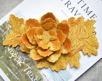 Blossom gold 3D flower patch ,big gold flower embroidered Iron-on patch ,pink flower embroidered patch
