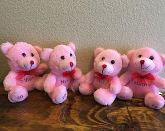 Personalized Pink Bear - Valentines Plush