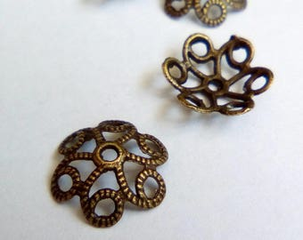 10 bronze flower bead caps 10mm