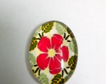 Glass cabochon flower red green Bohemian 18x13mm oval