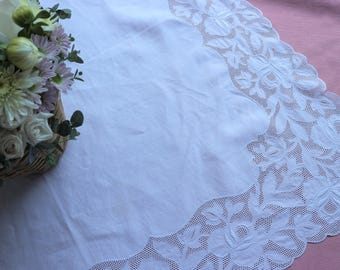 Vintage fine white linen tablecloth topper with rambling roses border.  Proceeds to charity VACD Ltd