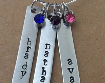 Triple Bar Personalized Necklace with birthstone accents