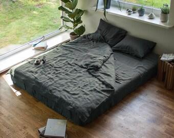 Linen Duvet Cover and Pillowcases,Linen Bedding Set,Washed Linen Bedding,Pure Linen Bedding,Linen Shams,Custom Size Bedding,Grey Bed Linen