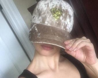 Velvet Baseball Cap Swarovski Crystals Hat Velour Bling Tan Camoflage Heart