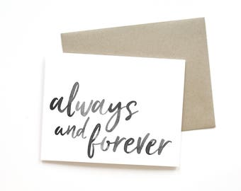 Always and Forever | Card || Greeting Card | Love Card | Anniversary Card | Shower Card | Wedding Card | Handlettered Card | Valentine Card