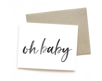 Oh Baby | Card || Greeting Card | Baby Shower Card | Mom to be Card | Pregnancy Card | Simple Card | Shower Card