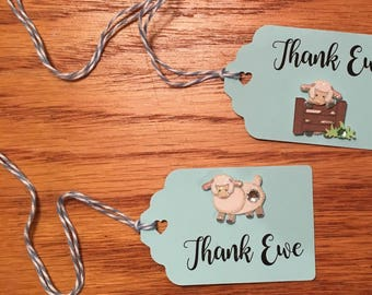 Baby Lamb Favor tags, Baby Shower Favor Tags, Sheep Shower Tags, Placecards, Sheep Food Labels -8 per order