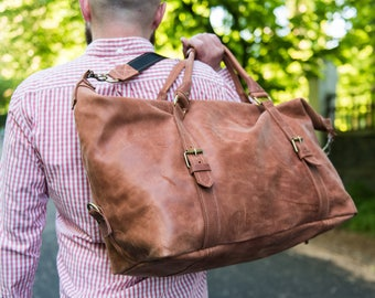 Genuine leather travel bag, Weekend bag, Handbag, Big Brown Duffle Bag, Gym Bag, Cognac BrownDuffel bag