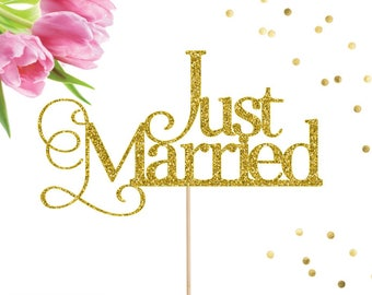 Just Married Cake Topper, Wedding Cake Topper, Wedding Decor, Love Cake Topper, Mr and Mrs, Just Hitched, Traditional Wedding Cake Topper