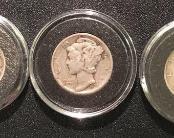 1937-1938-1939 Silver Mercury Dimes set of 3