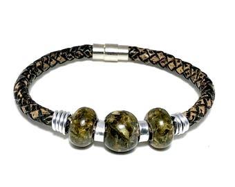 Cannabis Beads Men's Genuine Leather Bracelet. Marijuana jewelry. Made in USA. Unisex bracelet