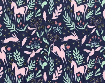 Unicorn Fabric, Michael Miller Fabric, Magic Folk, Metallic Fabric, Magic Sarah Jane 100% cotton woven with metallic, Unicorn Navy Fabric
