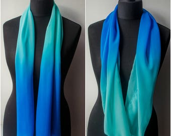 Blanket scarf,Infinity scarf,Blue scarf,Womens gift,Summer scarf,Sea color,Sea blue,Light scarf,Turquoise scarf,Casual womens scarf,Fashion