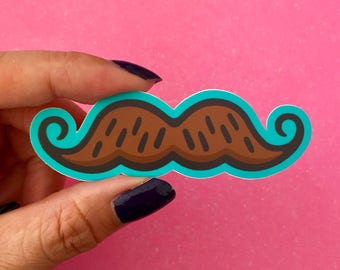 Illustrated brown and teal mustache-vinyl diecut sticker