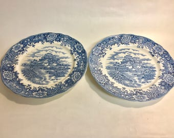 Salem China Co ENGLISH VILLAGE Dinner Plate Set of 2 | Vintage 10 Inch Plate | Blue White China | Vintage Ironstone | Vintage Dinner Plate