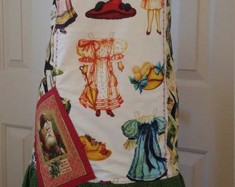 Women's Apron, Christmas Apron, Victorian Christmas,  Paper Dolls Apron, Holiday Apron