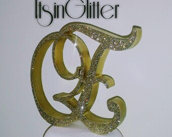 Custom monogram 3D wedding cake topper letter, Bling, crystal flakes