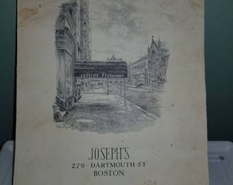 Joseph's Restaurant Full Menu, 279 Dartmouth Street, Boston, MA. The inspiration for Joe's Bar and Grill