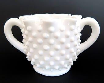 Vintage Fenton Hobnail Milk Glass Sugar Bowl with Handles