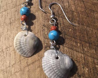 Summer Sea Shell Turquoise Earrings: Bradenton Beach Collection