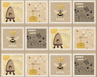 """Save Our Bees - 3950P-44 - Blocks-Multi - 24"""" Panel - by DT-K Signature from Studio E"""